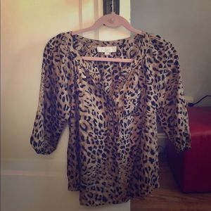 Animal print 3/4 sleeve blouse